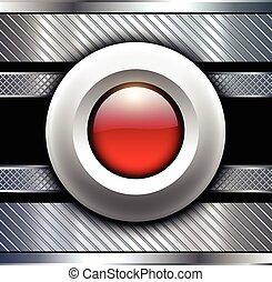 baggrund, metallisk, hos, rød knap