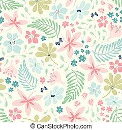 baggrund., natur, pastel, colours., kønne, mønster, blad, blomst, konstruktion, vektor, tropisk, tossed, seamless, gentage