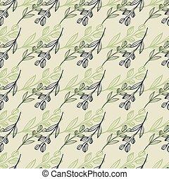 baggrund, pastel, branches., beige, tryk, grønne, foret, colours., horisontalt, purpur blomstr