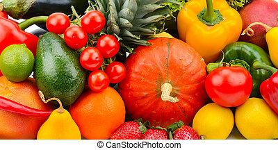 baggrund, sæt, i, grønsager, frugter, og, grønnes