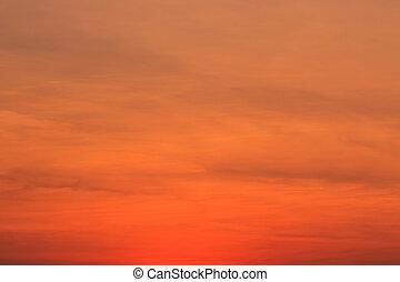 baggrunde, solnedgang, blå himmel, skyer
