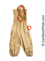 Baggy jumpsuit ethnic styling fashion composition isolated on white background. Clipping path included.