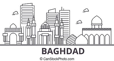 Baghdad architecture line skyline illustration. Linear vector cityscape with famous landmarks, city sights, design icons. Landscape wtih editable strokes