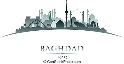 Baghdad Iraq city skyline silhouette white background