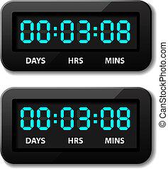 bagkappen, -, hours, countdown, glødende, vektor, digitale