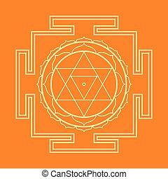 baglamukhi, illustration, monocrome, contour, yantra