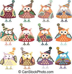 baglyok, kalapok, vektor, színezett, tél