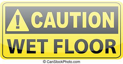 bagnato, attenzione, pavimento
