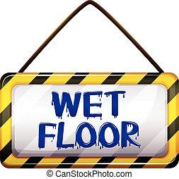 bagnato, cartello, pavimento