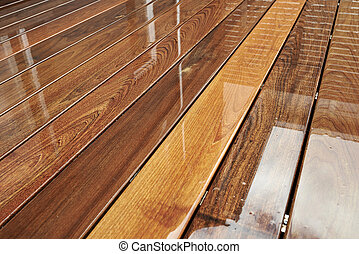 bagnato, esterno, decking, superficie