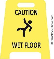 bagnato, icona, sdrucciolevole, pavimento