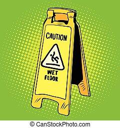 bagnato, segno, attenzione, pavimento