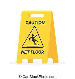 bagnato, segno, pavimento