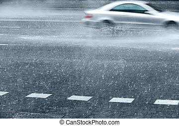 bagnato, strada, con, digiuno, automobili