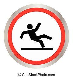 bagnato, vettore, simbolo di avvertenza, pavimento
