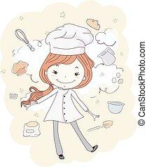 bagning, bager, illustration, pige, sky, barnet