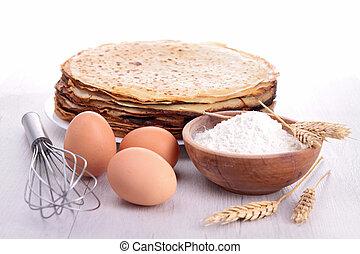 bagning, ingrediens, og, crepes