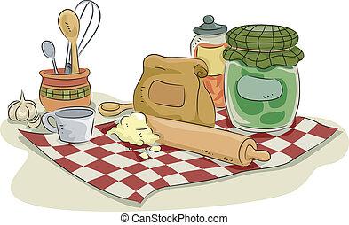 bagning, utensils, og, ingredienser