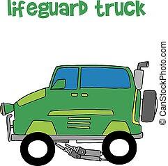 bagnino, camion, vettore, trasporto, collezione