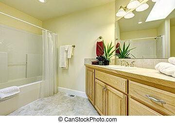 bagno, cabinets., semplice, grande, legno, vasca