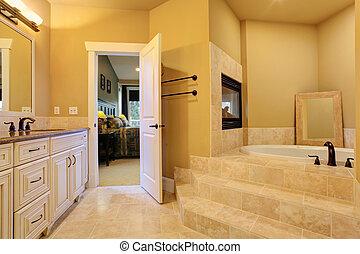bagno, caminetto, vasca, bagno