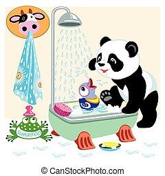 bagno, cartone animato, panda
