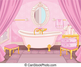bagno, castello, interno