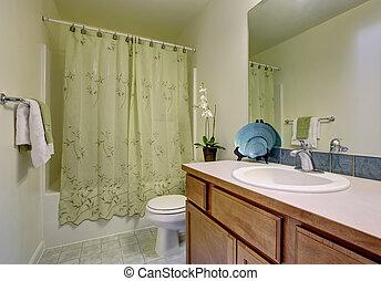 bagno, classico, floor., doccia, verde, piastrella, tenda