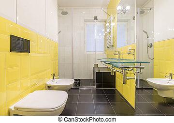 Bagno moderno giallo beige nuovo tiles marrone bagno