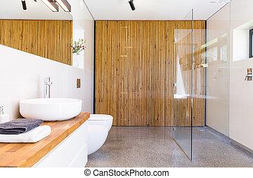 bagno, con, legno, divisore, idea