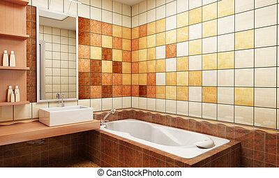 bagno, disegno, pavimentato