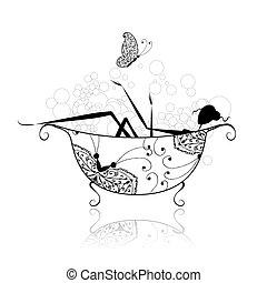 bagno, donna, disegno, tuo, schiuma