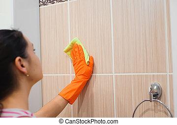 bagno, donna, superficie, pulizia, rondella, pavimentato