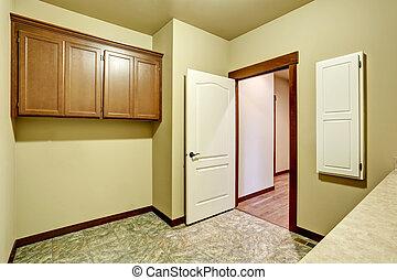 bagno, floor., gabinetto, interno, piastrella, vuoto, vanità