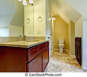 bagno, gabinetto, legno, nuovo, toilet., vuoto