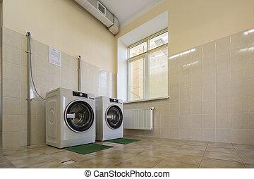 bagno, industriale, lavaggio, stuoie, system., luce, moderno, aria, gomma, ventilazione, pavimentato, pulito, nuovo, isolamento, bucato, o, macchine, stanza