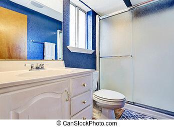 Blu pavimento ciliegia pareti bianco cucina - Bagno blu e bianco ...