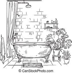 bagno, interno, vettore, schizzo