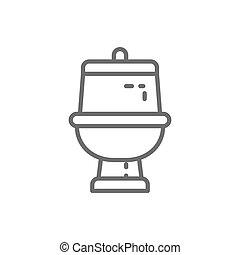 bagno, linea, icon., gabinetto