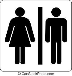 bagno, maschio, femmina, icona