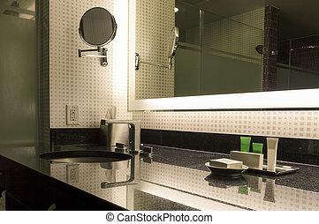 bagno, moderno, interior.