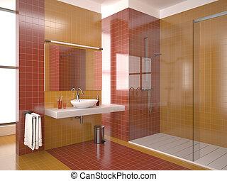 bagno, moderno, rosso
