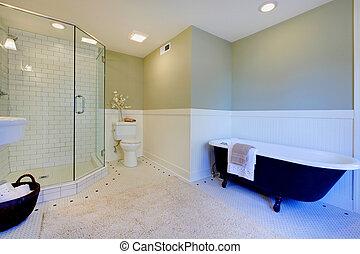 bagno, moderno, verde, lusso, fresco, bianco