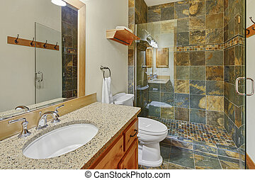 bagno, naturale, pietra, lusso, interno, tile.