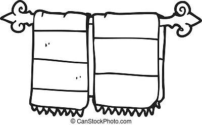 bagno, nero, bianco, asciugamani, cartone animato