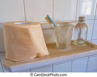 bagno, oggetti, abbandonato
