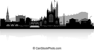 bagno, orizzonte, città, silhouette