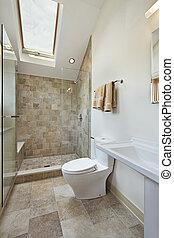 bagno, soffitta, lucernario