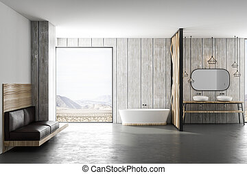 bagno, soffitta, natura, luce, moderno, vista