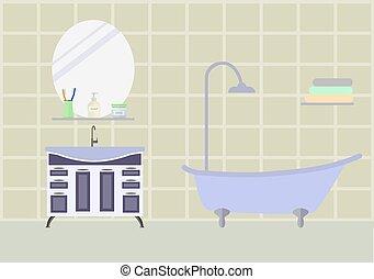 bagno, stanza, mobilia
